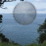 "This free hanging metal sculpture was displayed in the 'Sculpture on the Gulf' event held on Waiheke Island, New Zealand, 2011. Virginia King describes her work: ""The graduated hole sizes create an optical illusion, while the spiky edge of the form alludes to marine life forms, cell structures and industrial apparatus."""